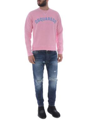 DSQUARED2: Felpe e maglie online - Felpa in cotone rosa con logo