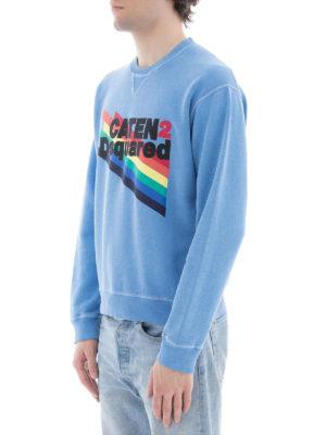 DSQUARED2: Felpe e maglie online - Felpa azzurra logo arcobaleno