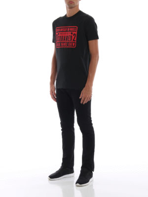 DSQUARED2: t-shirt online - T-shirt nera con stampa Break Dance Crew