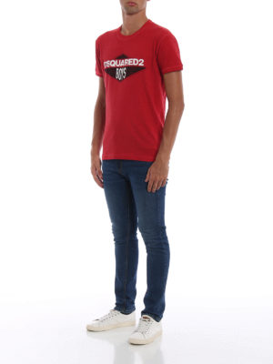 DSQUARED2: t-shirt online - T-shirt rossa con stampa Dsquared2 Boys