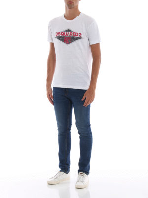 DSQUARED2: t-shirt online - T-shirt bianca con stampa Dsquared2 Boys