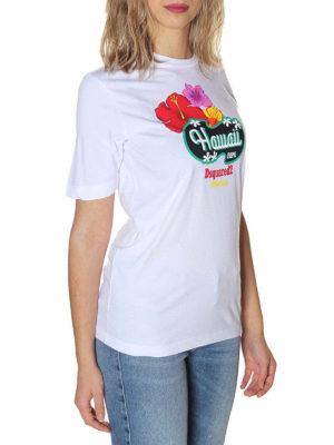 DSQUARED2: t-shirt online - T-shirt bianca Hawaii Caten
