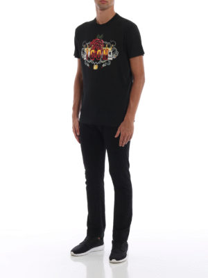 DSQUARED2: t-shirt online - T-shirt con stampa Icon e teschi