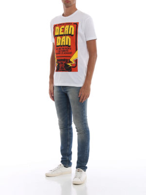 DSQUARED2: t-shirt online - T-shirt con maxi stampa Dean Dan