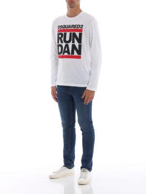 DSQUARED2: t-shirt online - T-shirt Run Dan a manica lunga