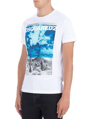DSQUARED2: t-shirt online - T-shirt in cotone stmpa bicolor