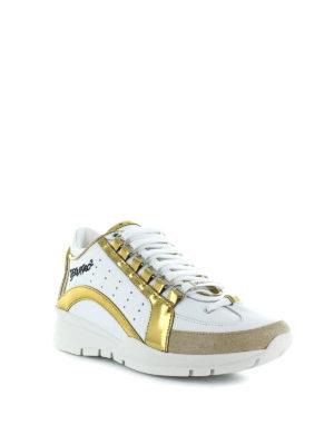 DSQUARED2: sneakers online - Sneaker 551 bianche con inserti dorati