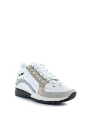 DSQUARED2: sneakers online - Sneaker 551 bianche in pelle e glitter