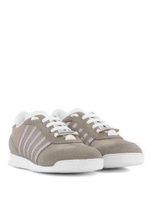 DSQUARED2: sneakers online - Sneaker grigie in camoscio e raso