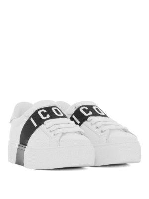 DSQUARED2: sneakers online - Sneaker in pelle con fascia elastica Icon
