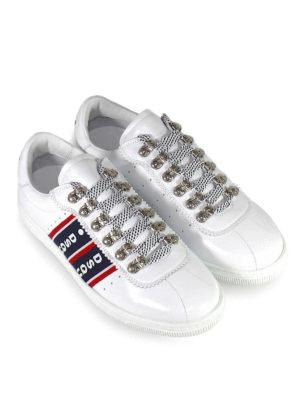 DSQUARED2: sneakers online - Sneaker bianche in pelle con bande logo