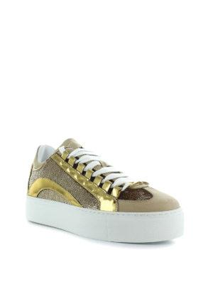 DSQUARED2: sneakers online - Sneaker in pelle laminata e paillettes