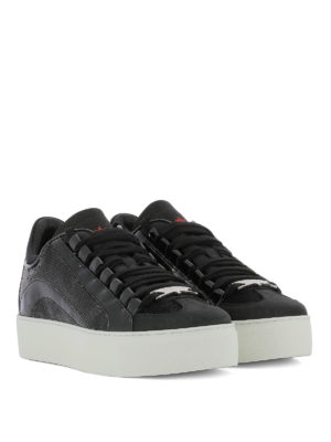DSQUARED2: sneakers online - Sneaker in nabuk vernice e paillettes
