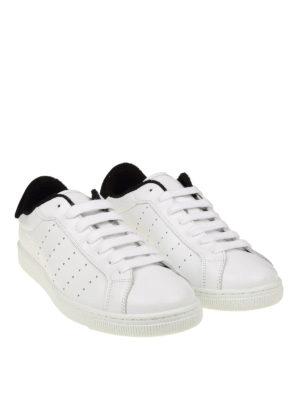 DSQUARED2: sneakers online - Sneaker Santa Monica in pelle bianca e nera