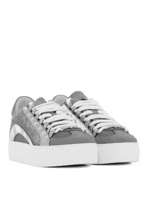 DSQUARED2: sneakers online - Sneaker in nabuk vernice e paillettes argento