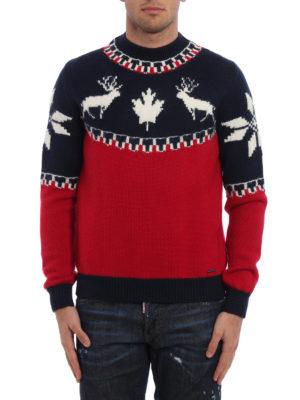 DSQUARED2: maglia a collo alto e polo online - Lupetto in lana bicolor con intarsi