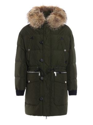 Dsquared2: padded coats - Fur trimmed hooded padded coat