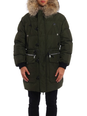 Dsquared2: padded coats online - Fur trimmed hooded padded coat