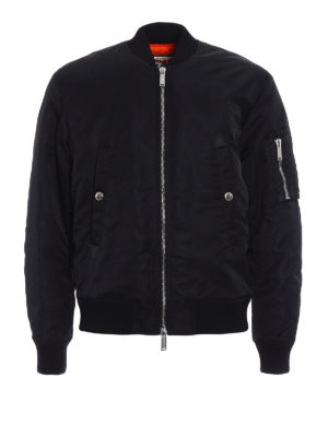 Dsquared2: padded jackets - Coated nylon padded bomber jacket