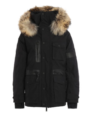Dsquared2: padded jackets - Fur trim hood tech fabric jacket