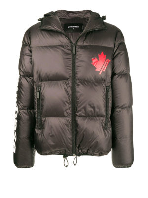 DSQUARED2: giacche imbottite - Piumino d'oca in nylon con logo a contrasto
