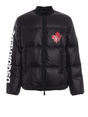 DSQUARED2: giacche imbottite - Piumino stile bomber in nylon nero con logo