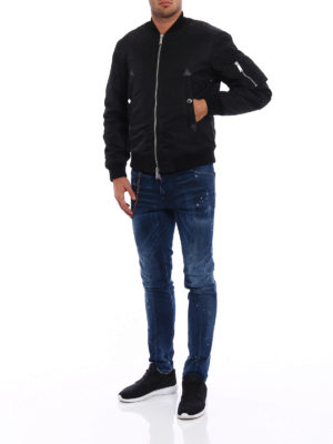 Dsquared2: padded jackets online - Coated nylon padded bomber jacket