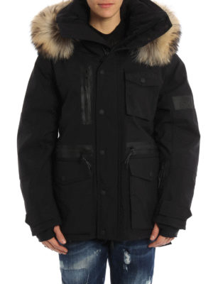 Dsquared2: padded jackets online - Fur trim hood tech fabric jacket