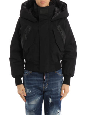Dsquared2: padded jackets online - Tech fabric hooded padded bomber