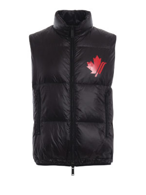 DSQUARED2: giacche imbottite - Gilet imbottito in nylon nero con logo