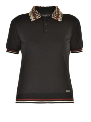 Dsquared2: polo shirts - Embellished collar polo shirt