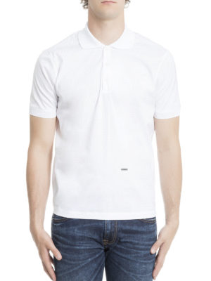 Dsquared2: polo shirts online - Logo plaque and side zip polo