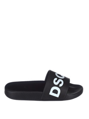 Dsquared2: sandals - Logo black pool slide sandals