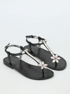 Dsquared2: sandals online - 70's glam patch flat sandals