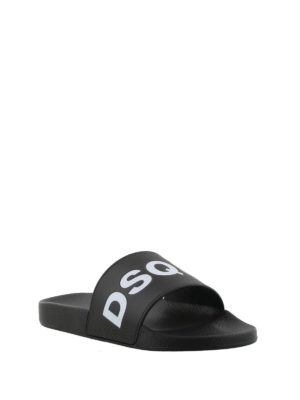 Dsquared2: sandals online - Logo pool slide sandals