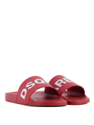 Dsquared2: sandals online - Red rubber logo pool slide sandals