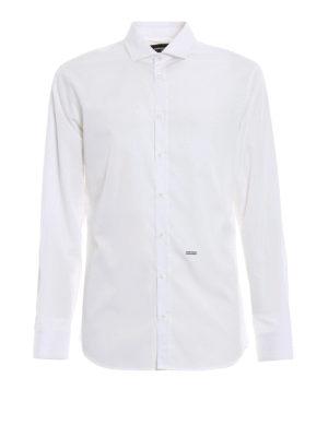 DSQUARED2: camicie - Camicia bianca classica in popeline di cotone