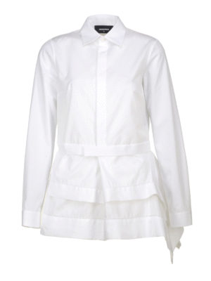 Dsquared2: shirts - Asymmetric peplum cotton shirt