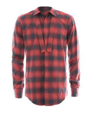 Dsquared2: shirts - Check flannel shirt with self-tie