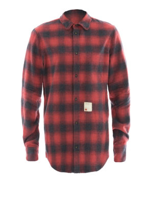 Dsquared2: shirts - Check pattern cotton flannel shirt