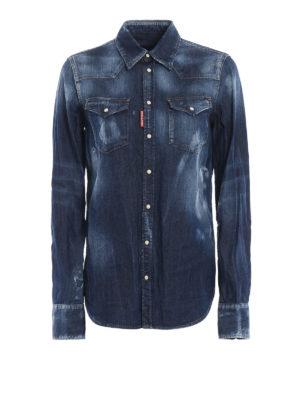 DSQUARED2: camicie - Camicia in denim effetto used Denim Western