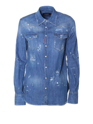 Dsquared2: shirts - Faded denim destroyed shirt