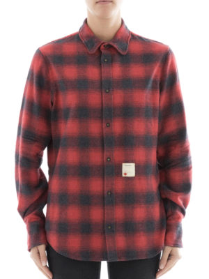 Dsquared2: shirts online - Check pattern cotton flannel shirt