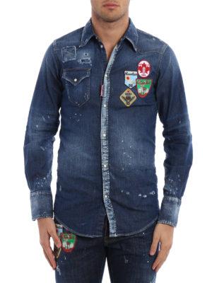 Dsquared2: shirts online - Patch detail denim shirt