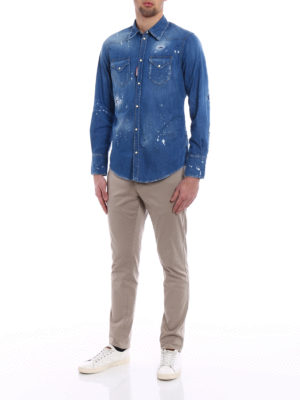 Dsquared2: shirts online - Patched rips faded denim shirt