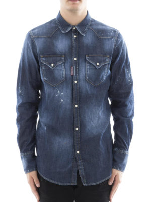 Dsquared2: shirts online - Spotted faded denim shirt