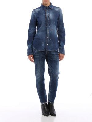 Dsquared2: shirts online - Worn out denim shirt
