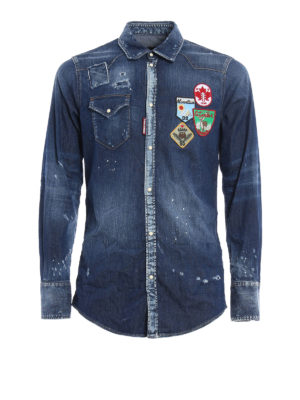 Dsquared2: shirts - Patch detail denim shirt