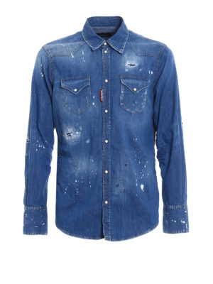 Dsquared2: shirts - Patched rips faded denim shirt