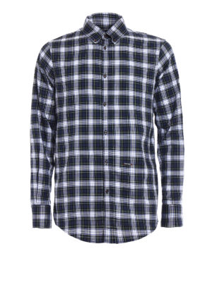 Dsquared2: shirts - Tartan cotton b/d shirt